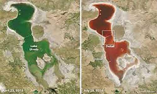 توضیح ناسا برای تغییر رنگ دریاچه ارومیه