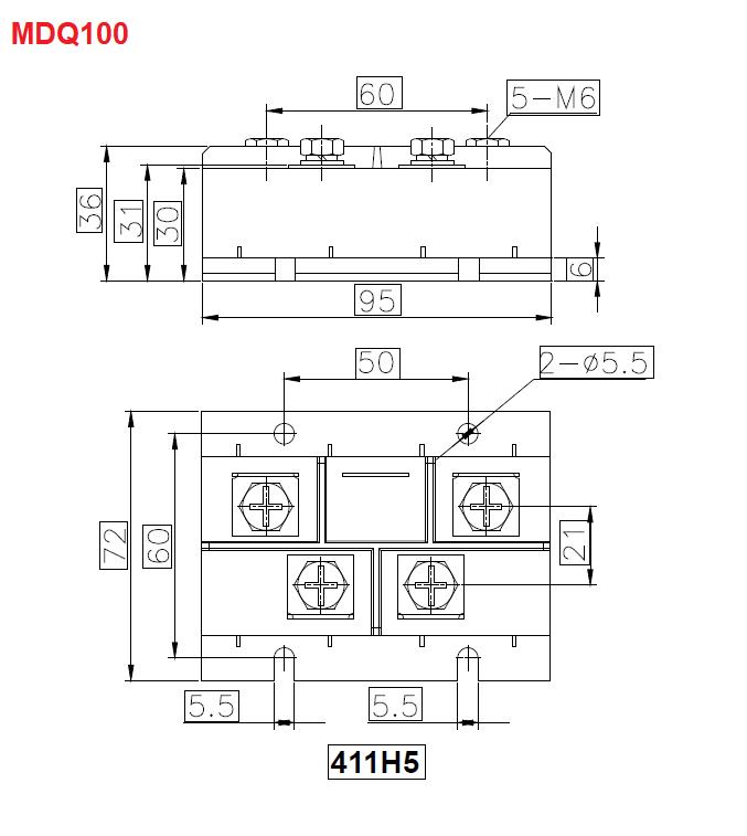 نمودار فنی پل دیود سه فاز سری mdq100