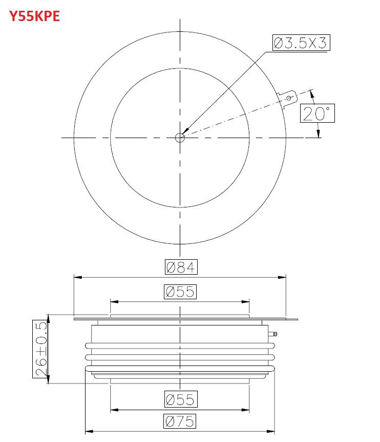 نمودار فنی تریستور دیسکی y55kPE