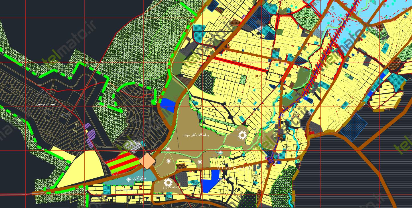 دانلود نقشه اتوکد جامع و طرح تفصیلی شهر کرمانشاه با فرمت DWG + فایل آماده