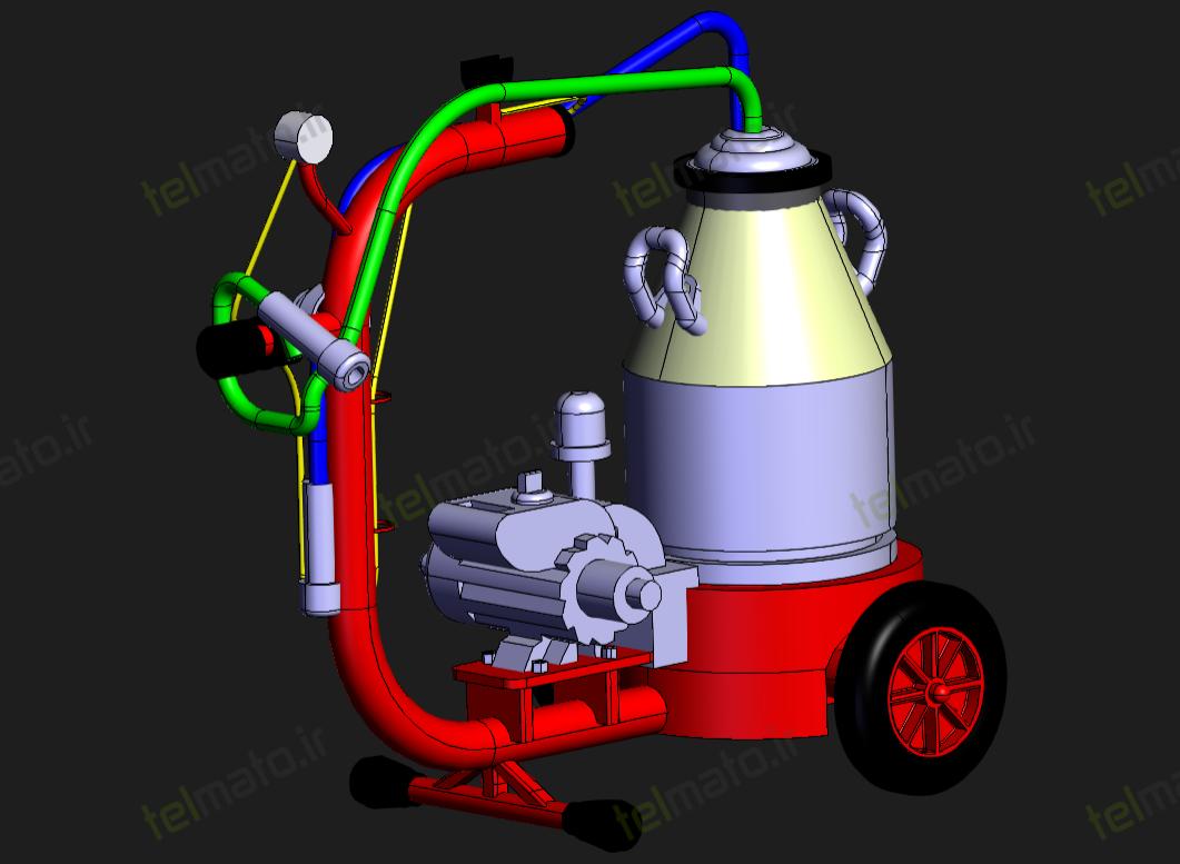 دانلود رایگان طراحی دستگاه شیردوش گاو با نرم افزار کتیا catia + دانلود فایل ها - پروژه سالیدورک solidwork